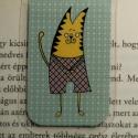 Cicafiú-mini MÁGNESES könyvjelző 1 db, Naptár, képeslap, album, Könyvjelző, Fotó, grafika, rajz, illusztráció, Papírművészet, Egy helyes kis cicafiú, MINI mágneses könyvjelzőben, a figura saját tervezésű.   Ez egy mágneses kö..., Meska