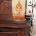dekoratív asztali lámpa, Dekoráció, Otthon, lakberendezés, Lámpa, Asztali lámpa, Decoupage, szalvétatechnika, 22x10x10cm opál üveges elektromos éjjeli lámpa. Különböző színű rizspapírral díszítettem, majd ezt ..., Meska
