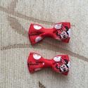 Minni egér masnis hajcsat, Ruha, divat, cipő, Hajbavaló, Hajcsat, Varrás, Mindenmás, Ezeket az aranyos piros Minnie egeres hajcsatokat szalagból készítettem, 4,5 cm-es aligátor hajcsat..., Meska