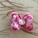 Nagy Hello Kitty masnis hajcsat, Ruha, divat, cipő, Hajbavaló, Hajcsat, Varrás, Mindenmás, Ezt az édes rózsaszín Hello Kitty-s hajcsatot szalagból készítettem, 4,5 cm-es aligátor hajcsatra h..., Meska