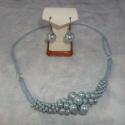 Fülbevaló (pl. a TeklaVarázs nyaklánchoz), Ékszer, óra, Ékszerszett, Fülbevaló, Gyöngyfűzés, Ékszerkészítés, A világoskék teklából horgolt TeklaVarázs nyaklánchoz készítettem ezt a finom kis fülbevalót, de ter..., Meska