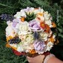 """"""" Ősz varázsa """" menyasszonyi körcsokor, Esküvő, Otthon, lakberendezés, Esküvői csokor, Virágkötés, Selyem virágok, őszi levelek, bogyós ágak, habrózsák, színes vidám összeállításban ... :) A csokor ..., Meska"""