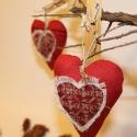 Anyák napi illatos szívpárnák 3 db-os Vászon illatos szívek., Dekoráció, Ünnepi dekoráció, Karácsonyi, adventi apróságok, Kedves ajándék lehet az édesanyáknak ez a piros lenvászonból készült illatos szív. 3 darabos szett k..., Meska