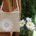 Romantikus lenvászon táska horgolt virággal, Esküvő, Táska, Neszesszer, Remek választás lesz ez a lenvászon kis táska , ha esküvőre mész, vagy  egy romantikus vacsorára a k..., Meska