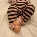 Bébi pamut nadrág csíkos lányka leggings fodros leggings, Ruha, divat, cipő, Gyerekruha, Baba (0-1év),  Kényelmes pamut nadrág kicsi lányoknak. Csini a kis rózsaszín fodorral.   Anyaga rugalmas pamut.  M..., Meska