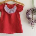 Lányka ruha lenvászon könnyű tavaszi /nyári ruha, Ruha, divat, cipő, Gyerekruha, Gyerek (4-10 év), Baba (0-1év), Könnyű  lenvászon ruhácska.Az elején lévő mintás fodor teszi egyedivé  Ennek a ruhának a mérete: 86-..., Meska