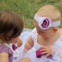 Hajpánt virágos hajpánt baby csipke hajpánt, Ruha, divat, cipő, Hajbavaló, Hajpánt, Varrás, Fehér csipke hajpánt lila-fehér rózsával swarovski kristály díszítéssel.  Tütü ruhát is találsz hozz..., Meska
