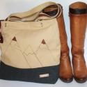 Táska  vászon táska egyedi lenvászon táska, Táska, Válltáska, oldaltáska, A havas hegycsúcsok inspiráltak ennek táskának az elkészítésében.Valódi bőrrel kombináltam. A Beige ..., Meska
