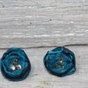organza virág fülbavaló kék organza fülbevaló , Ékszer, óra, Fülbevaló, Különleges apró organza virág fülbevaló swarovski kristállyal díszítve. Szép karácsonyi ajándék lehe..., Meska