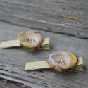 Hajcsat arany sárga selyemvirág aligátor csat swarvski kristállyal , Ruha, divat, cipő, Hajbavaló, Hajcsat, Különleges összhatású arany, sárga selyem-organza virághajcsat karácsonyra szilveszterre. A közepére..., Meska