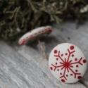 fülbevaló  szilikonos hópehely fülbevaló vászon behúzott gomb hópehely fülbevaló, Ékszer, óra, Fülbevaló, Nagyszerű kiegészítője lehet karácsonyi öltözékednek ez a hópehely fülbevaló. Ajándéknak is kiváló! ..., Meska