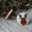 fülbevaló  szilikonos  fülbevaló vászon behúzott gomb rénszarvas és mikulás fülbevaló, Ékszer, óra, Fülbevaló, Nagyszerű kiegészítője lehet karácsonyi öltözékednek ez a rénszarvas és mikulás  fülbevaló. Ajándékn..., Meska
