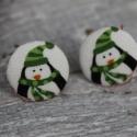 fülbevaló  szilikonos pingvin pár fülbevaló vászon behúzott gomb pingvin pár fülbevaló, Ékszer, óra, Fülbevaló, Nagyszerű kiegészítője lehet karácsonyi öltözékednek ez a pingvin pár fülbevaló. Ajándéknak is kivál..., Meska