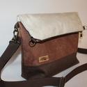 Latte   művelúr táska válltáska, Táska, Válltáska, oldaltáska, Igazán feltűnő leszel ezzel a barna  vagány táskával. Három különböző árnyalatú barna művelúrt kombi..., Meska