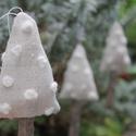 Karácsonyi díszek textil díszek 3 db fenyőfa hópehely, Dekoráció, Karácsonyi, adventi apróságok, Karácsonyfadísz, Már nincs messze a Karácsony Igyekeztem új textil díszekkel meglepni vásárlóimat  a szezon kezdetére..., Meska