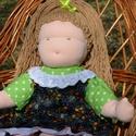 Waldorf babalány kordbársony ruhában, Képzőművészet, Játék, Textil, Baba, babaház, Baba-és bábkészítés, Varrás, Waldorf babalány kordbársony ruhában.  Magassága kb. 42 cm.  Teste világos színű, kiváló minőségű, ..., Meska