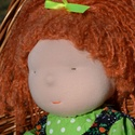 Waldorf babalány vörös hajjal, kordbársony ruhában, Képzőművészet, Játék, Textil, Baba, babaház, Baba-és bábkészítés, Varrás, Waldorf babalány kordbársony ruhában.  Magassága kb. 40 cm.  Teste világos színű, kiváló minőségű, ..., Meska