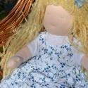 Waldorf babalány szőke copfokkal, virágos ruhában, Képzőművészet, Játék, Textil, Baba, babaház, Baba-és bábkészítés, Varrás, Waldorf babalány virágos ruhában.  Magassága kb. 41 cm.  Teste világos színű, kiváló minőségű, ÖKOT..., Meska