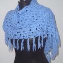 Kék öböl vállkendő, Ruha, divat, cipő, Női ruha, Poncsó, Horgolás, Világoskék fonalból horgoltam ezt a mutatós csipke kendőt.  Könnyű, puha, meleg és számtalan variác..., Meska
