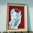Csipkés hajdísszel, Dekoráció, Képzőművészet , Kép, Textil, , Meska