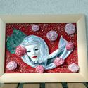 Rózsák között, Képzőművészet , Dekoráció, Textil, Kép, , Meska