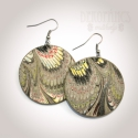Fülbevaló - Toszkána színei: szürke, Ékszer, óra, Fülbevaló, Decoupage, szalvétatechnika, Firenzei papírkészítő mesterek keze alól került ki ez a csodálatos papír, amivel a fa fülbevaló ala..., Meska