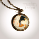Klimt: Anya -  üveglencsés nyaklánc, Ékszer, óra, Medál, Nyaklánc, Ékszerkészítés, A medál díszéül Klimt gyönyörű grafikáját választottam, üveglencsére ragasztottam, amit bronz színű..., Meska