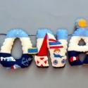 DONÁT - név, filc betűkkel, matrózos, tengerészes  dekorral, Baba-mama-gyerek, Otthon, lakberendezés, Gyerekszoba, Varrás, Ildi, sok szeretettel!  A megrendelő kérésére csíkos betűket készítettem, matrózos, tengerészes szi..., Meska