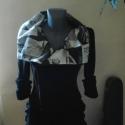 Sikkes design kabát, Ruha, divat, cipő, Női ruha, Kabát, Varrás, Fekete jersey és nyomott mintás vászonból készült ez a sikkes design kabát. Húzózára keresztbe ferdé..., Meska
