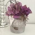 Love asztaldísz, Dekoráció, Otthon, lakberendezés, Dísz, Ünnepi dekoráció, Virágkötés, Kedves ajándék lehet házavatóra, születésnapra, névnapra vagy csak úgy:) A szürke gipsz kaspot hort..., Meska