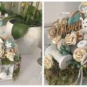 Húsvéti asztaldísz, Dekoráció, Otthon, lakberendezés, Dísz, Ünnepi dekoráció, Virágkötés, Kedves ajándék lehet saját magadnak vagy barátaidnak:) Fa fiókba orsók közé nyuszit és  színes tojá..., Meska