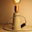 """Design asztali lámpa, Otthon, lakberendezés, Lámpa, Asztali lámpa, Kőfaragás, Egyedi design asztali lámpa """"kifordított verzió """". E27 foglalat, választható színű textilkábellel, ..., Meska"""