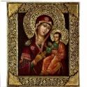 Iveri Madonna, Képzőművészet, Otthon, lakberendezés, Festmény, Szobor, Festészet, Szobrászat, Fenyőfára olajjal festett ikon, Mária a gyermekkel.Domboritott, aranyozott gipszes epoxigyanta kere..., Meska
