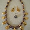 nyaklánc, Ékszer, óra, Ékszerszett, Kerámia, Mezopotámiai hatású nyaklánc, fülbevaló és gyűrű, lüszter és arany festékkel. A kékes-lila lüszter ..., Meska