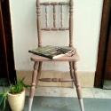 Festett szék, Bútor, Otthon, lakberendezés, Asztal, Festett tárgyak, Festett, koptatott szék., Meska