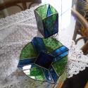 Tiffany kék - zöld mécsestartó szett, ajándék névnapra, születésnapra, karácsonyra.., Otthon, lakberendezés, Dekoráció, Gyertya, mécses, gyertyatartó, Dísz, Üvegművészet, Tiffany technikával készült asztaldísz, amely két részből áll. Egy 18x18cm kis tálból, és egy  6,5x..., Meska