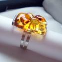 Borostyán - méz színű gyűrű, üvegékszer, Ékszer, óra, Ékszerszett, Medál, Gyűrű, Ékszerkészítés, Üvegművészet, Fusing technikával készült gyűrű. Átlátszó, méz és borostyán színű üvegekből olvasztottam. Fénye mi..., Meska