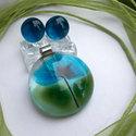 Szellőrózsa üvegékszer szett, ajándék nőknek névnapra, születésnapra., Ékszer, óra, Ékszerszett, Medál, Nyaklánc, Ékszerkészítés, Üvegművészet, Fusing technikával készült, üvegmedál, és a hozzá tartozó fülbevaló. Átlátszó, kék és zöld színű üv..., Meska