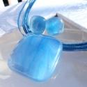 Kék márvány üvegékszer szett, ajándék  Máriáknak  névnapra, születésnapra., Ékszer, óra, Ékszerszett, Medál, Nyaklánc, Ékszerkészítés, Üvegművészet, Fusing technikával készült, ez a márványos kék színű  medál és fülbevaló. Átlátszó, és kék színű üv..., Meska