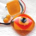 Napkitörés üvegékszer, nyaklánc, gyűrű és fülbevaló, ajándék névnapra, születésnapra., Ékszer, óra, Ékszerszett, Medál, Nyaklánc, Ékszerkészítés, Üvegművészet, Fusing technikával készült nagyon vidám színekből  összeállított üvegmedál, gyűrű, és a hozzá tarto..., Meska