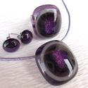 Levendula üvegékszer, nyaklánc, gyűrű, és fülbevaló, ajándék névnapra, születésnapra., Ékszer, óra, Ékszerszett, Nyaklánc, Ékszerkészítés, Üvegművészet, Fusing technikával készült üvegmedál, gyűrű és fülbevaló. Minőségi   lila és világos szürke színű ü..., Meska