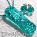 Türkiz jégkristály, üvegékszer, szalagavató bálra, névnapra, születésnapra., Ékszer, óra, Medál, Nyaklánc, Ékszerszett, Ékszerkészítés, Üvegművészet, Fusing technikával készült üvegmedál. Csúcsminőségű átlátszó türkiz üvegből olvasztottam,  apró dic..., Meska