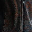 Barna bársony mellény , Ruha, divat, cipő, Női ruha, Felsőrész, póló, Varrás, A mellény eleje barna anyagában mintás rugalmas bársony anyagból készült, háta enyhén rugalmas feke..., Meska