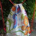 Pillangó mintás vászon tornazsák vagy hátizsák, Otthon, lakberendezés, Ruha, divat, cipő, Táska, Hátizsák, Varrás, Késztermék.  Gyönyörű lepke mintás spanyol vászonból készült kis hátizsák. Használható tornazsáknak..., Meska