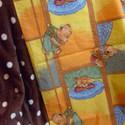 Maci mintás pamutvászon - pöttyös wellsoft babatakaró, Baba-mama-gyerek, Gyerekszoba, Falvédő, takaró, Baba-mama kellék, Varrás, Egyik oldala maci mintás 100% pamutvászonból, másik oldala puha, barna, fehér pöttyös wellsoftból r..., Meska