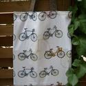 Bicikli mintás, vászon bevásárló táska, szatyor, bevásárlótáska, Otthon, lakberendezés, Ruha, divat, cipő, Táska, Szatyor, Varrás, Rendelésre készül.  Mindkét oldala bicikli mintás, 100% pamutvászonból készült szatyor, barna pötty..., Meska