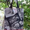 SZATYORKA, Táska, Szatyor, Varrás,   Egyik oldala Marilyn mintás, másik sötétpiros raszteres vászonból készült.  Dupla varrással, béle..., Meska