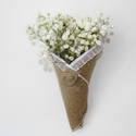 Rusztikus zsákvászon virágtölcsér, esküvői dekoráció, Esküvő, Esküvői dekoráció, Varrás, Vintage és rusztikus stílust ötvöz ez a virágtölcsér, amely egyszerű, de szemet gyönyörködtető dísz..., Meska