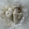 Vintage vászon-csipke szívek, Esküvő, Esküvői dekoráció, Varrás, Esküvői dekorációnak vagy otthoni dekorációnak varrtam ezeket a szíveket. A vászon-csipke kombináci..., Meska