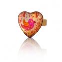 Madárka szív alakú gyűrű, Ékszer, óra, Képzőművészet , Gyűrű, Festmény, Festészet, Ékszerkészítés, Hordj magadon festményt!  Saját festményemet foglaltam az üveglencse mögé, melyet akril festékkel f..., Meska